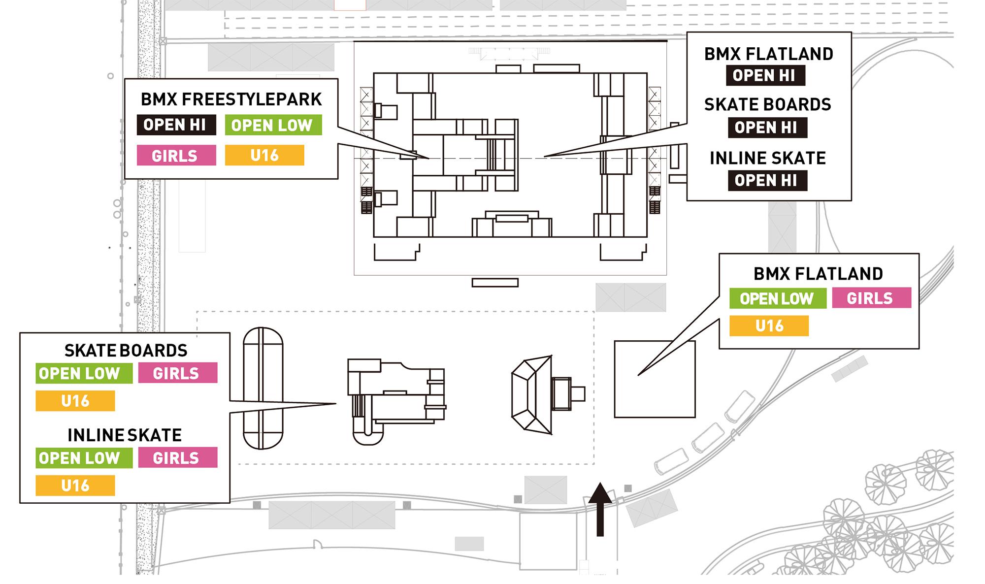 CHIMERA-A-SIDE2019_1stLEAGUEのAREAMAP画像:Skateboard スケートボード