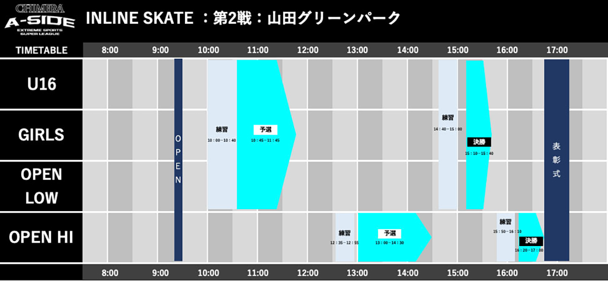 CHIMERA-A-SIDE2019_2ndLEAGUEのTIMETABLE画像:Inline-Skate インラインスケート