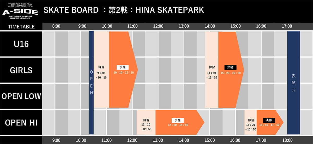 CHIMERA-A-SIDE2019_2ndLEAGUEのTIMETABLE画像:Skateboard スケートボード